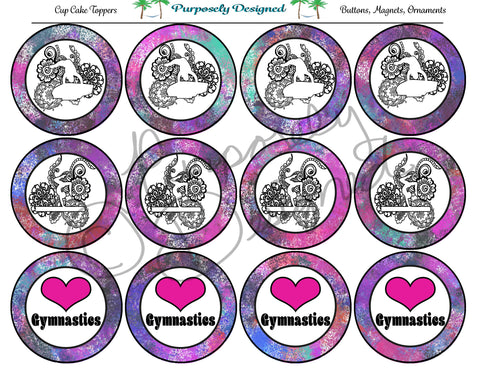Gymnastics Galaxy 8 Print Silhouette Printable Party Tags - Cupcake Toppers - Printable Party Favors