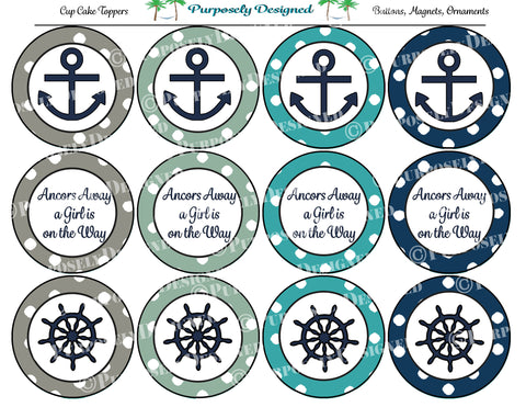It's A Girl Nautical Collection- Printable Party Tags - Cupcake Toppers - Printable Party Favors