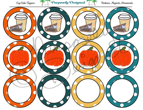 Fall Printable Party Tags - Cupcake Toppers - Printable Party Favors