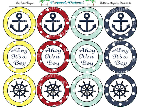 Ahoy It's A Boy Collection- Printable Party Tags - Cupcake Toppers - Printable Party Favors