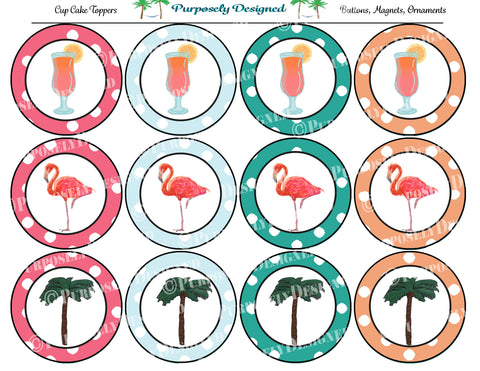 Summer Collection Printable Party Tags - Cupcake Toppers - Printable Party Favors