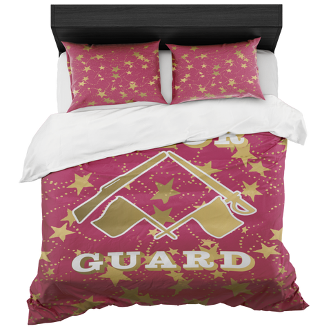 Color Guard Berry and Gold Stars Duvet- Bed-in-a-Bag Set-Includes Two Pillow Shams