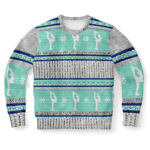 "Figure Skating ""Ugly Sweater"" Design in Mint and Navy-Sweatshirt"