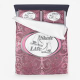 Skate Life Design on a Rose Gold Glitter Microfiber Duvet Cover Set
