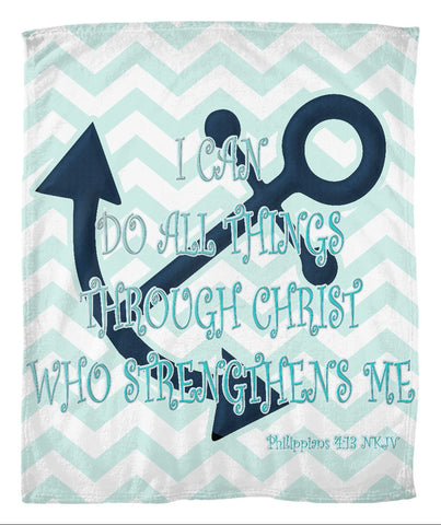 Coastal Style Fleece Blanket with Philippians 4:13