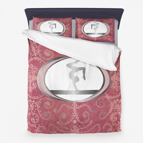 Gymnastics Beam Design on a Rose and Silver Digital Glitter Background Microfiber Duvet Cover and Pillow Sham(s)