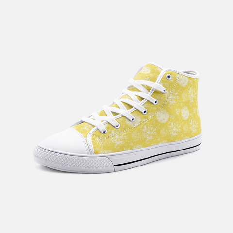 Roses in White on Illuminating Yellow Design -Unisex High Top Canvas Shoes