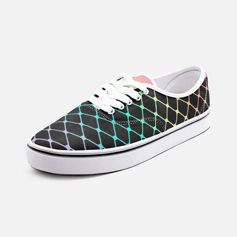 Fishnets in Pastel Rainbow on Black Background Unisex Canvas Shoes Fashion Low Cut Classic Sneakers
