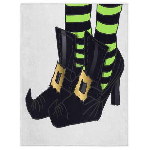 Witches Shoes With Lime Green and Black Stripe Sock Design Minky Blanket