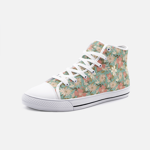 Retro Tropical Floral Print in Blush and Cream on Sea Foam- Unisex Hi-Top Canvas Shoes
