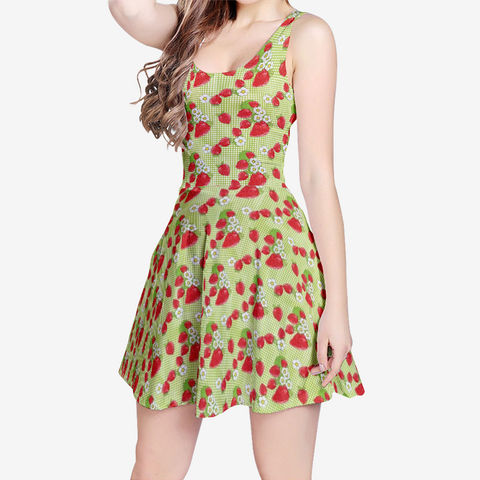 Strawberry Patch in Green Plaid - Women's Sleeveless Midi Casual Flared Skater Dress
