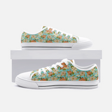 Retro Tropical Floral Print in Orange and Cream on Vintage Aqua -Unisex High Top Canvas Shoes