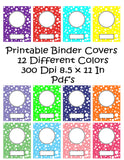 Printable Binder Cover Pack in Lots of Dots Design-12 Different Binder Covers -Instant Download- Printable PDF**Not Editable**