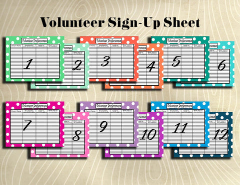 Volunteer Sign-Up Sheet- Teacher Planning Collection-Instant Download