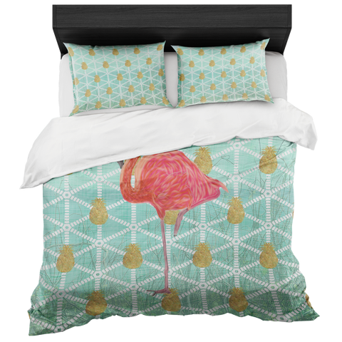 Flamingo and Gold Pineapple Coastal Duvet in a Bag Set includes 2 Pillow Cases