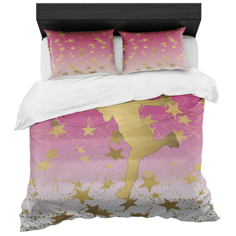 Female Tennis Player Silhouette in Gold with Stars on Berry Gradient Duvet Bed-in-a-Bag Set with 2 Pillow Shams