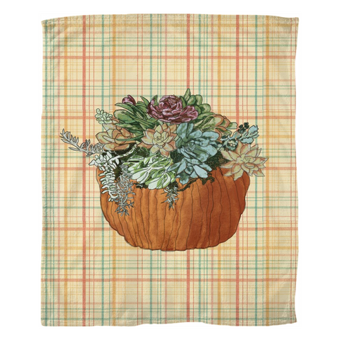 Succulents In Pumpkin on Fall Plaid Fleece Blankets