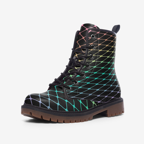 Fishnet in Pastel Rainbow on Black Casual Leather Lightweight Boots MT