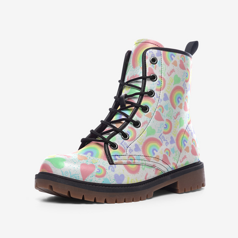 Pastel Love, Rainbows and Hearts Design - Casual Leather Lightweight boots MT