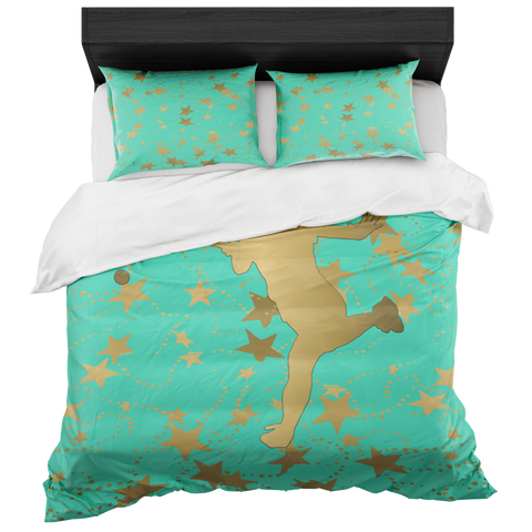 Female Tennis Player Silhouette in Gold with Stars on Aqua Duvet Bed-in-a-Bag Set with 2 Pillow Shams