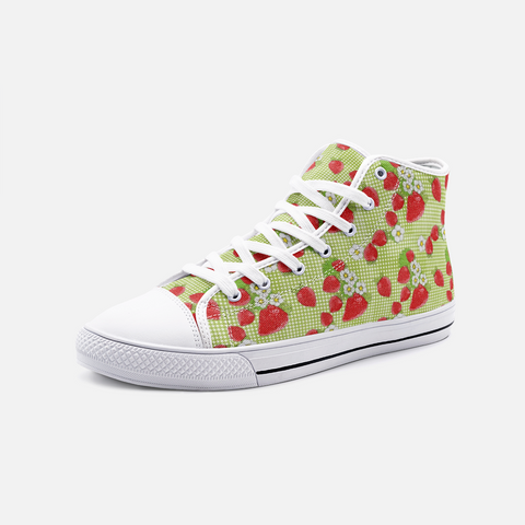 Strawberry Patch Green Plaid - Unisex High Top Canvas Shoes