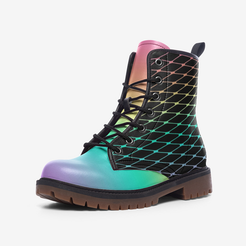 Fishnets in Pastel Rainbow on Black Background Casual Leather Lightweight Boots MT-Style 2