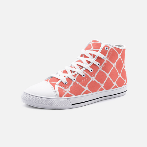 Nautical Rope in White on Living Coral Design-Unisex High Top Canvas Shoes