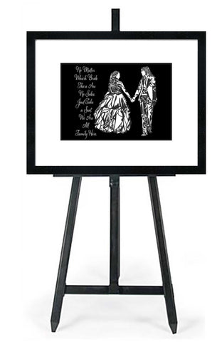 No Matter Which Bride Silhouette-In Black,White and Transparent Backgrounds - Wedding Seating Sign Instant Download-Choose a Seat not a Side Sign Template, Printable Choose a Seat Sign
