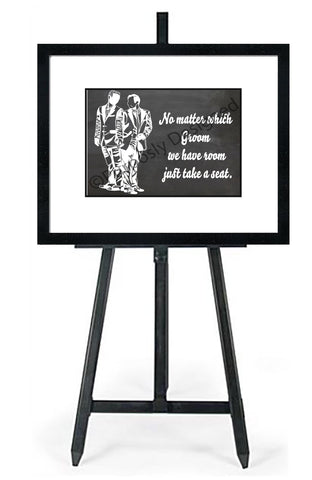 No Matter Which Groom Silhouette-In White - Wedding Seating Sign Instant Download-Choose a Seat not a Side Sign Template, Printable Choose a Seat Sign