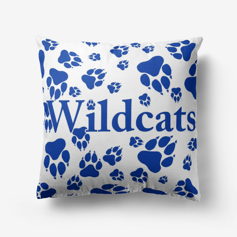 Wildcats Paw Print Pattern Blue on White -  Premium Hypoallergenic Throw Pillow