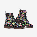 Pastel Love, Rainbows and Hearts Design on Black - Casual Leather Lightweight boots MT