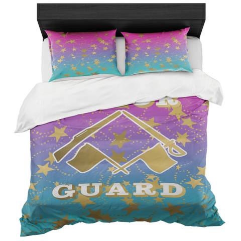 Color Guard Magenta to Blue Gradient and Gold Stars Duvet- Bed-in-a-Bag Set-Includes Two Pillow Shams