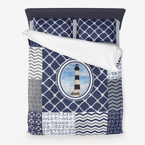 Nautical Quilt Pattern Design in Navy and Grey- Style 3 - Microfiber Duvet Cover