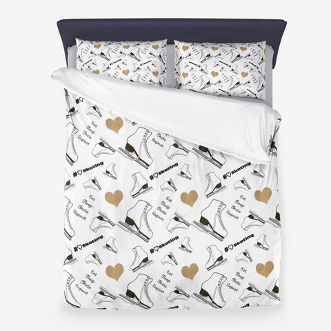 Figure Skating Life- Style 2- Skates and Gold Hearts Duvet Set with Pillow Sham(s)