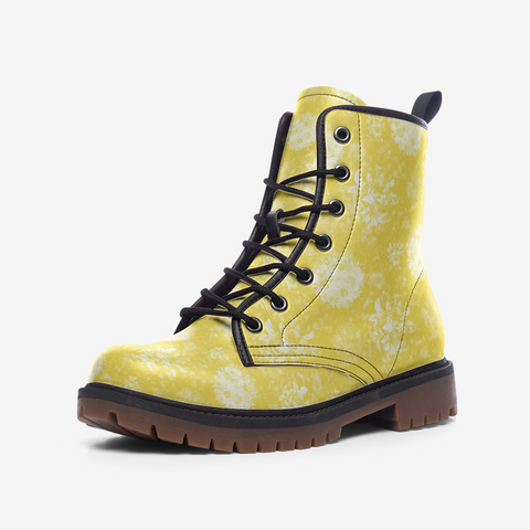 Roses in White on Illuminating Yellow Design Casual Leather Lightweight Boots- Unisex Shoes