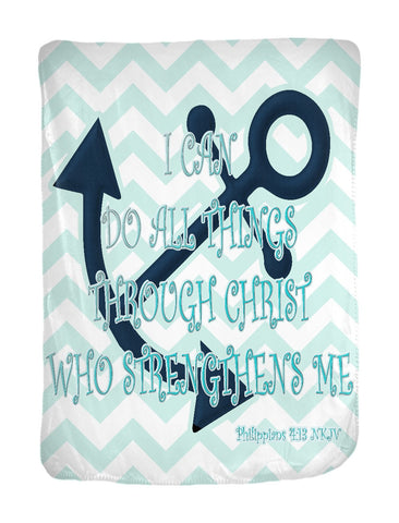 Coastal Style Minky Blanket with Philippians 4:13