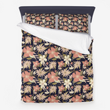 Tropical Floral Print in Blush and Cream on Deep Navy Microfiber Duvet Cover