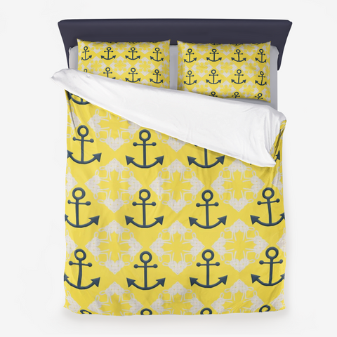 Nautical Knots and Anchors Design on Illuminating Yellow - Microfiber Duvet Cover with Pillow Sham(s)