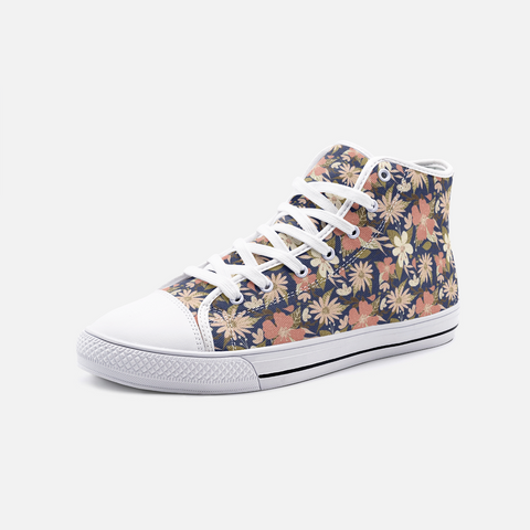 Retro Tropical Floral Print in Blush and Cream on Navy- Unisex Hi-Top Canvas Shoes