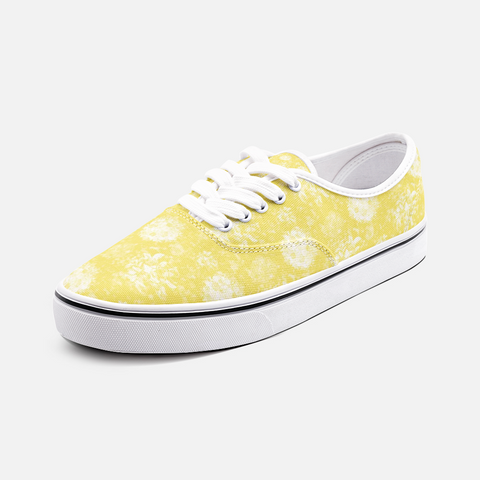 Roses in White on Illuminating Yellow Design Unisex Canvas Shoes Fashion Low Cut Loafer Sneakers