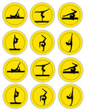 Women's Gymnastics Silhouette Printable Button Sheet