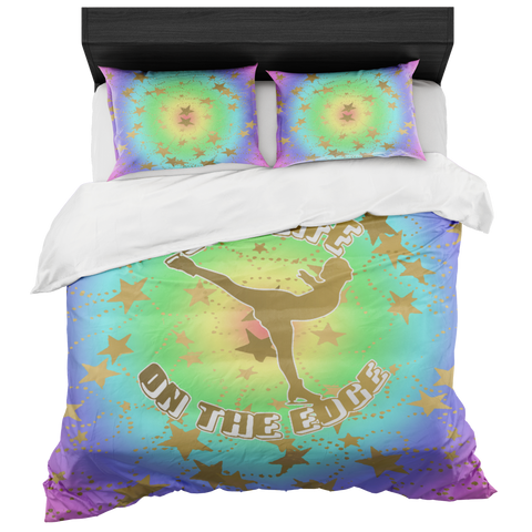 Figure Skating Live Life on the Edge- Circular Rainbow and Gold Stars Duvet- Bed-in-a-Bag Set-Includes Two Pillow Shams