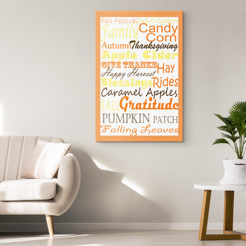 Fall Subway Style Word Art Design Canvas Wrap
