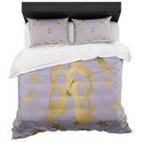Ballet Shoes Silhouette in Gold with Stars on Pale Purple- With 2 Pillow Shams