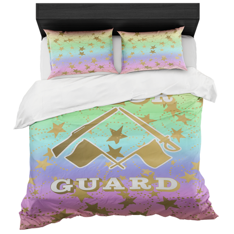 Color Guard Pastel Rainbow 2 and Gold Stars Duvet- Bed-in-a-Bag Set-Includes Two Pillow Shams