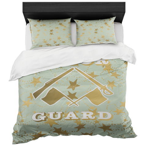Color Guard Sea Foam and Gold Stars Duvet- Bed-in-a-Bag Set-Includes Two Pillow Shams