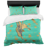 Dancer Silhouette in Gold and Aqua with Stars Duvet with 2 Pillow Shams