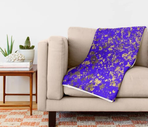 Indigo and Gold Patina Design Collection Minky Blankets