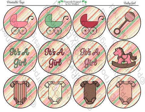 Baby Girl Collection- Printable Party Tags - Cupcake Toppers/Sickers- Printable Party Favors