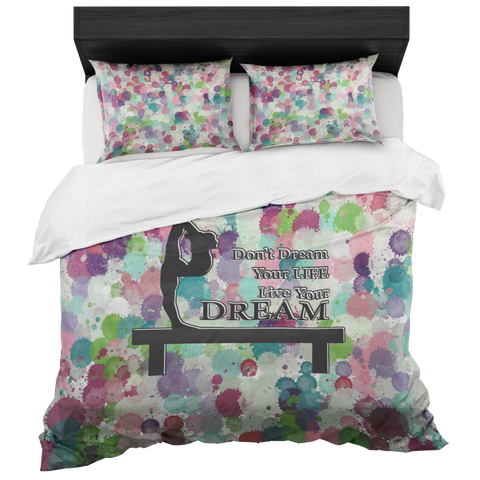 Gymnastics Live Your Dream-Duvet Bed-in-a Box with 2 Pillow Shams - Set includes 2 Pillow Shams